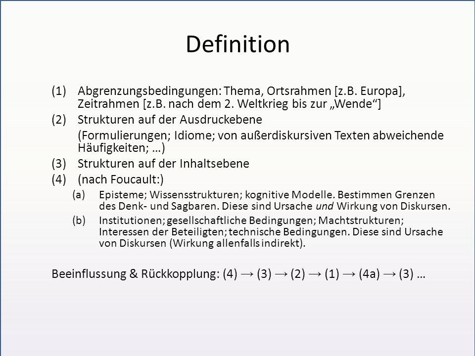 """Definition (1) Abgrenzungsbedingungen: Thema, Ortsrahmen [z.B. Europa], Zeitrahmen [z.B. nach dem 2. Weltkrieg bis zur """"Wende ]"""